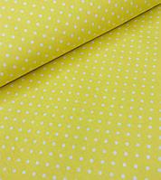 Хлопковая ткань польская горох белый на желтом 4 мм