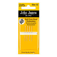 Ball Point Bead Embroidery №12 (4шт) Набор коротких бисерных игл с закругленным кончиком John James JJ10712B