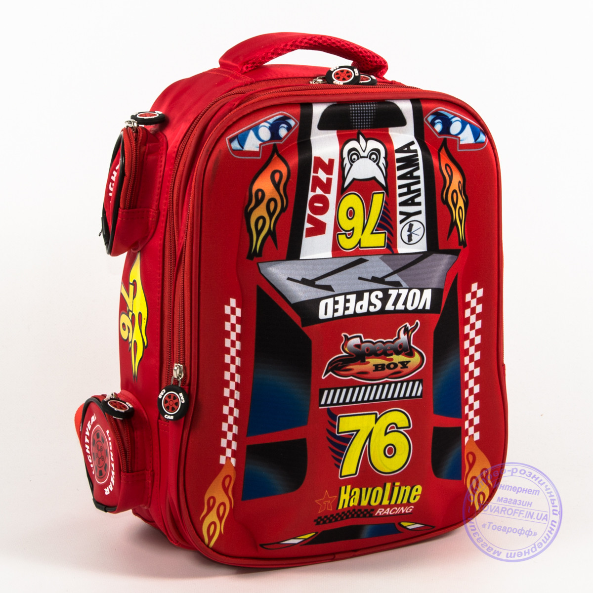 Школьный рюкзак для мальчика 3D машина - красная - 126