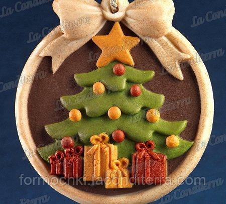 Силиконовая форма для шоколада Decosil (Елка с подарками)