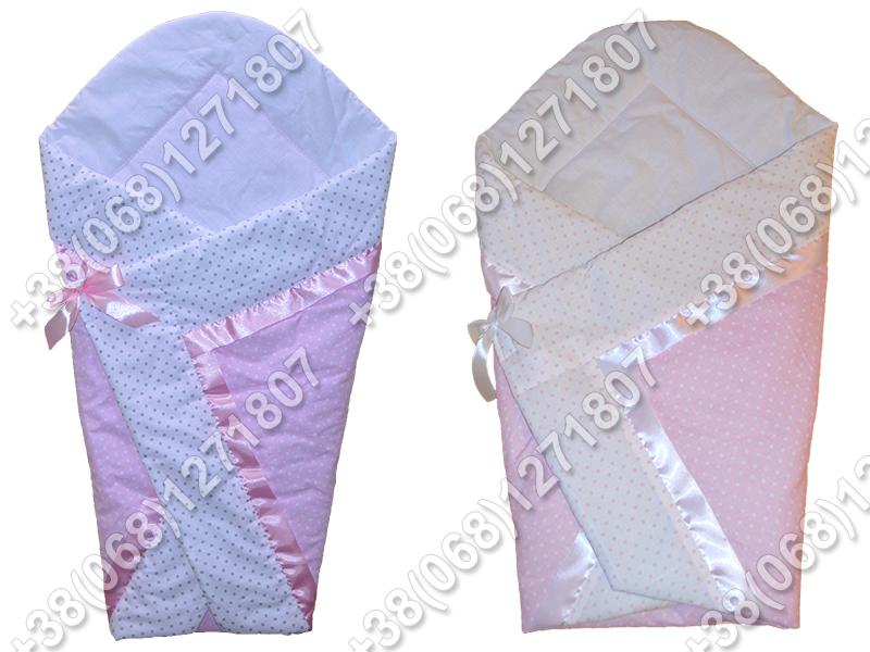 Летний конверт одеяло на выписку для новорожденного Розовый горох