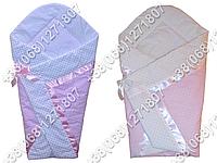 Летний конверт одеяло на выписку новорожденного (розовые расцветки)