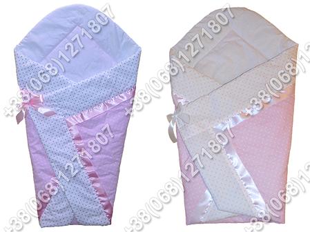 Летний конверт одеяло на выписку для новорожденного Розовый горох, фото 2