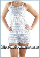 Пижама майка с шортиками для кормления грудью отстегивающиеся брители хлопок