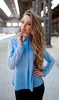 Кружевная блуза голубая