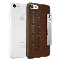 Ozaki O!coat 0.3 Jelly+Pocket 2in1 case with card holder for iPhone 7 Brown+Clear (OC722BC)