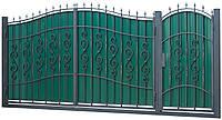 Кованые ворота и калитка ВД-14 с ПРОФНАСТИЛОМ
