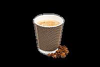 Бумажные стаканы для горячих напитков с гофростенками двухслойные/Стандартный дизайн