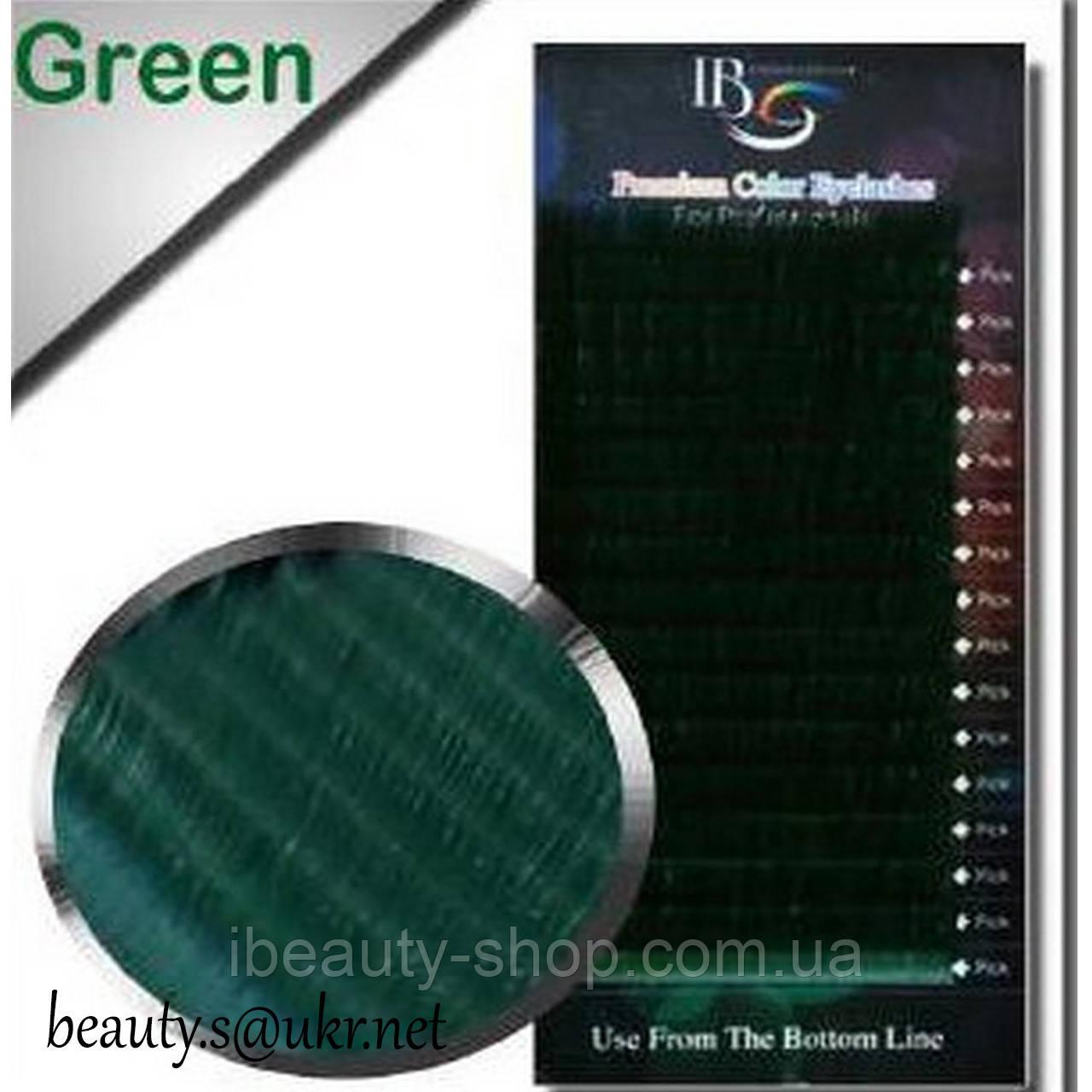 Вії I-Beauty(20 стрічок),зелені,мікс З-0,10 8-14мм