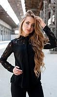 Кружевная блуза черная