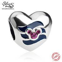"""Серебряная подвеска-шарм Пандора (Pandora) """"Disney. Сердце Микки. Синие волны"""" для браслета"""