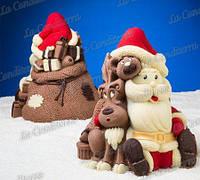 Силиконовая форма для шоколада Decosill (Дед Мороз с подарками)
