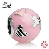 """Серебряная подвеска-шарм Пандора (Pandora) """"Disney. Розовые силуэты Микки"""" для браслета"""