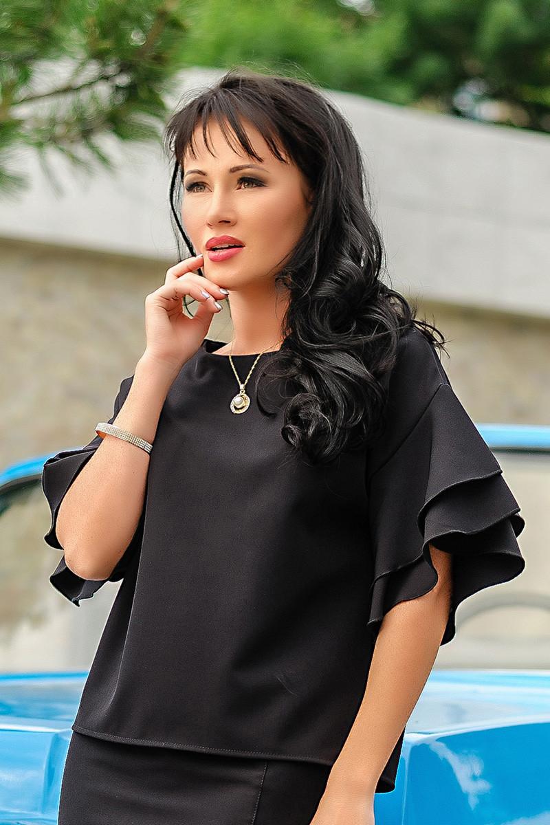 """Черная стильная блузка """"Элен"""""""