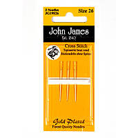 Gold Plated Tapestry/Cross Stitch №24 (3шт) Набор гобеленовых игл покрытых золотом John James (Англия) JG19824