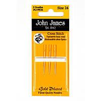 Gold Plated Tapestry/Cross Stitch №26 (3шт) Набор гобеленовых игл покрытых золотом John James (Англия) JG19826