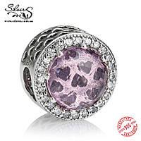 """Серебряная подвеска-шарм Пандора (Pandora) """"Розовые сияющие сердца 856"""" для браслета"""