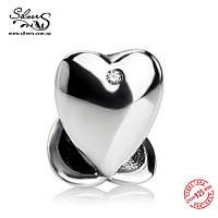 """Серебряная подвеска-шарм Пандора (Pandora) """"Сердце"""" для браслета"""