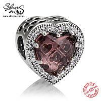 """Серебряная подвеска-шармПандора (Pandora) """"Бежевые сияющие сердца"""" для браслета"""