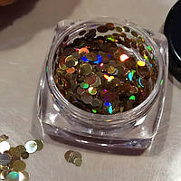 Конфети для ногтей микс золотистые