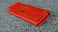 Кожаный винтажный кошелек на 12 карточек   Винтажный Коралл , фото 1