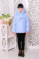 Куртка для девочки демисезонная короткая с капюшоном лед