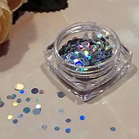 Конфети для ногтей микс серебристые