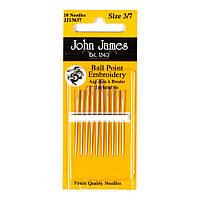 Ball Point Embroidery №3/7 (10шт) Набор игл для вышивки гладью с закругленным кончиком John James JJ13637