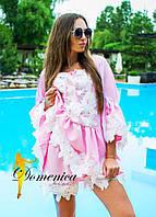 Шикарный льняной костюм блуза+шорты с красивым кружевом (разные цвета)