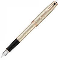 Перьевая ручка Parker Sonnet Sterling Silver PGT FP F серебряная с узором и позолотой, золотое перо 85 312R