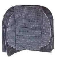 Модельні чохли Pilot ВАЗ 2103/06 чорний кожзам+тканина світло-сіра, підголовники знімні