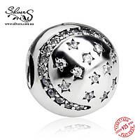 """Серебряная подвеска-клипса Пандора (Pandora) """"Блеск звезд"""" для браслета"""