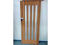 Дверь гармошка межкомнатная остекленная 860х2030х12мм Зеркальное, Вишня