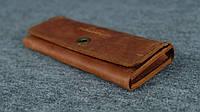 Кожаный винтажный кошелек на 12 карточек    Винтажный Орех, фото 1