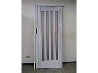 Дверь гармошка межкомнатная остекленная 860х2030х12мм Зеркальное, Белый ясень