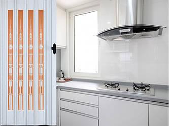 Дверь гармошка остекленная  860х2030х12 мм