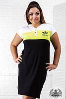 Платье спортивное большого размера, выше колена, короткий рукав, печать, на кнопках, черное