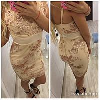 Вечернее женское платье с золотыми пайетками