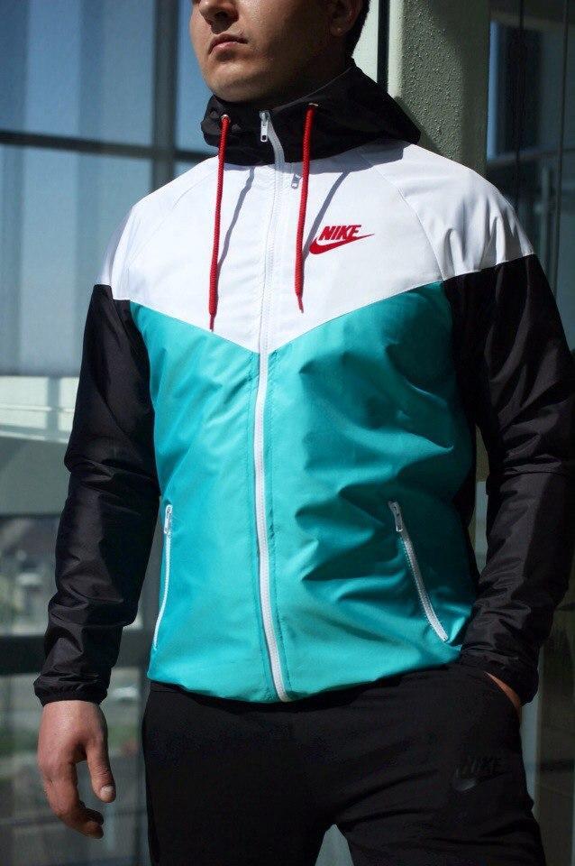 Windrunner Nike (Ветровка, виндраннер Найк), бело-бирюзовая с черными рукавами