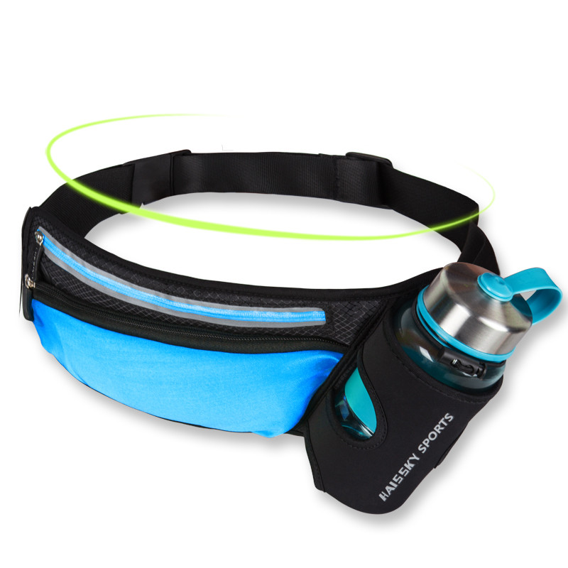Сумка на пояс спортивная Sea & sky с карманом для бутылки голубая