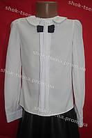 Красивая блуза с вставкой-бантиком на девочку школа