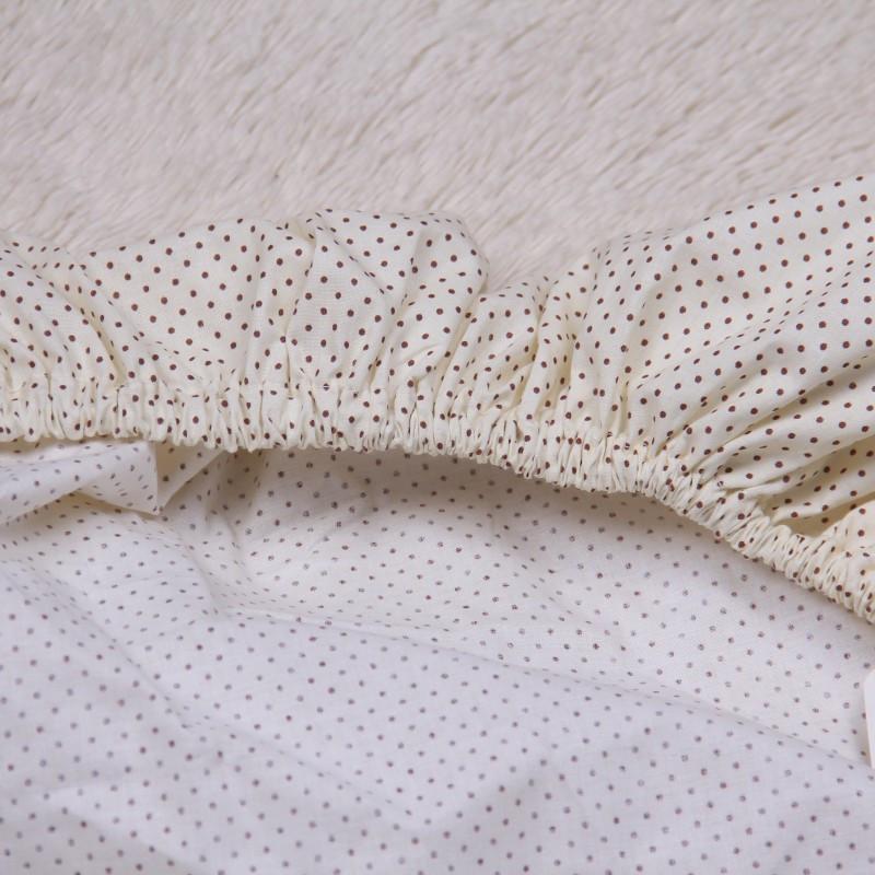 """Простынь на резинке в детскую кроватку """"Горошки"""" (беж)"""