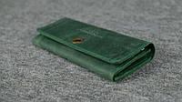 Кожаный винтажный кошелек на 12 карточек | Винтажный Изумруд, фото 1