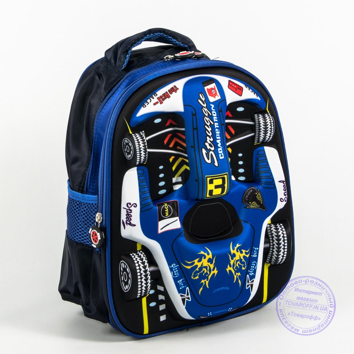 Детский рюкзак для мальчика 3Д машинка - синий - 128