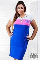 Платье спортивное большого размера, выше колена, короткий рукав, печать, на кнопках, голубое