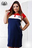 Платье спортивное большого размера, выше колена, короткий рукав, печать, на кнопках, синее
