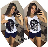 Стильная женская футболка с паеткой у-t7173