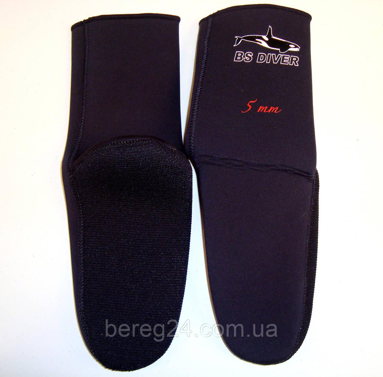 Носки для дайвинга и подводной охоты под боты неопреновые BS Diver Ultrablack 7 мм, размер L, открытая пора