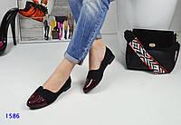 Туфли женские на плоском ходу с лаковым носком черные