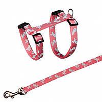Поводок+шлея Trixie Cat Harness для кошек нейлоновая, с рисунком, 27-45 см, 1.2 м, фото 1